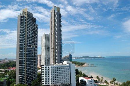 Modern luxury hotels at seashore, Pattaya, Thailand