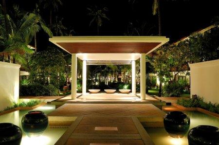 Photo for Illuminated lounge area of luxury hotel, Samui, Thailand - Royalty Free Image
