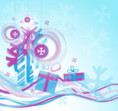New Year and Christmas image with the waves tree gifts