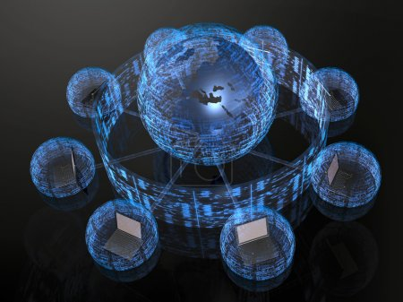 Photo for Network - notebooks and blue firewalled globe on black background. - Royalty Free Image