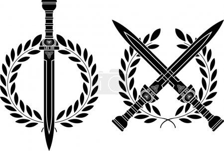 Roman swords and wreath. vector illustration...