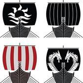 Viking ships vector illustration stencil vector illustration