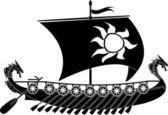Drakkar viking stencil vector illustration