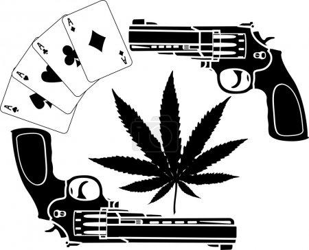 Illustration pour Cartes, chanvre et deux pistolets. Au pochoir. illustration vectorielle - image libre de droit