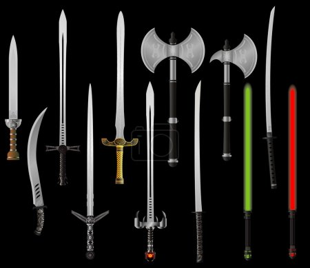 Illustration for Set of fantasy swords and axes. vector illustration - Royalty Free Image