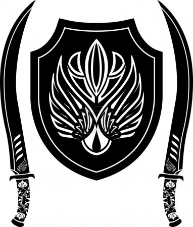 Fantasy arabian shield and swords. stencil. vector...