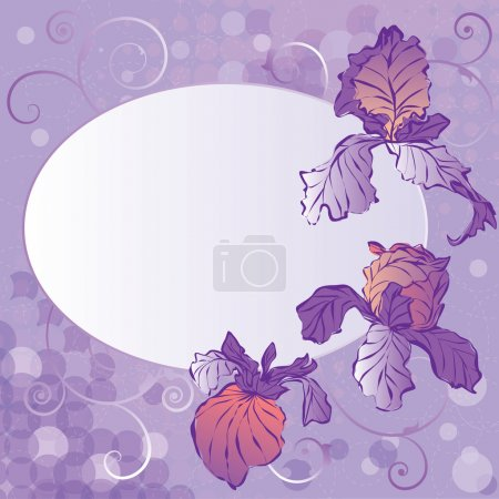 Illustration for Vector frame with the flowers of irises (EPS 10) - Royalty Free Image