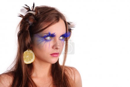 Pretty woman with unusual make-up