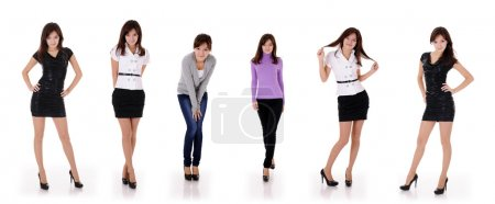 Photo for Six poses of pretty young teenager girl in 4 different clothes isolated on white - Royalty Free Image