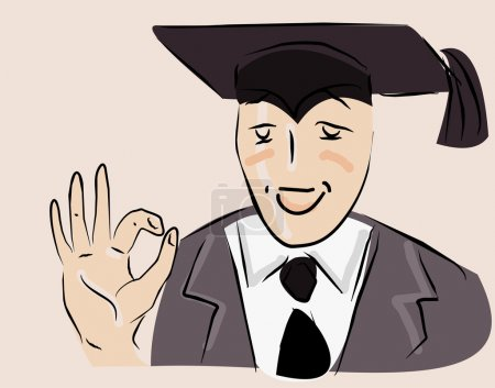 Illustration for Vector image of happy student - Royalty Free Image