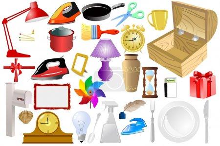 Photo pour Ensemble d'objets vectoriels domestiques - image libre de droit