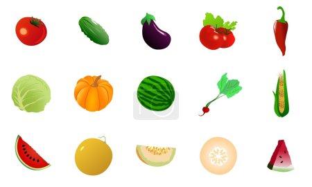 Illustration pour Ensemble d'illustration vectorielle de légumes - image libre de droit