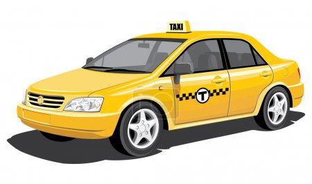 Illustration pour Taxi isolé vectoriel sur fond blanc, sans dégradés - image libre de droit