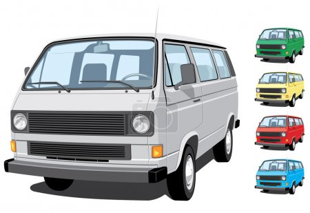Illustration for Vector isolated mini van, passengers and cargo on white background, without gradients EPS8 format. - Royalty Free Image