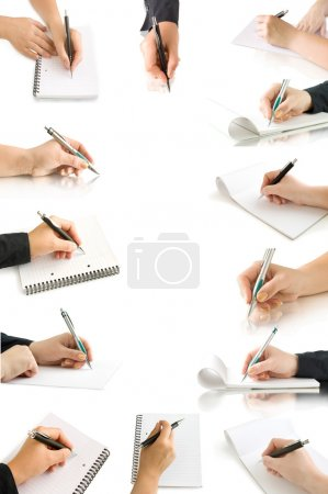 Collection hands with pen and writing on the page
