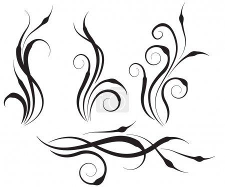 Floral swirl design elements