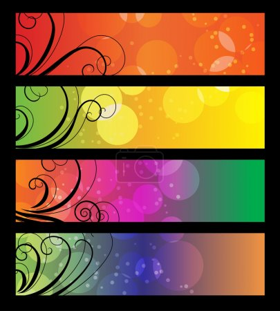 Illustration for Four many-colored banners with black floral element - Royalty Free Image