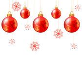 Seamless christmas background with red balls