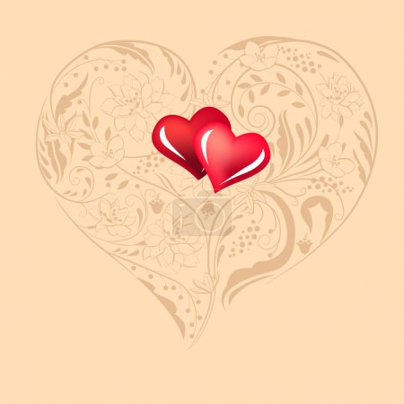 Illustration for Two hearts and plants and flowers in heart shape - Royalty Free Image