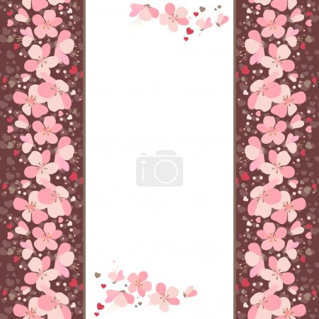 Illustration for White vertical frame with pink cherry flowers - Royalty Free Image