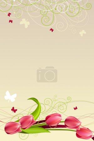 Illustration pour Cadre de printemps avec tulipes, papillons et tourbillons - image libre de droit