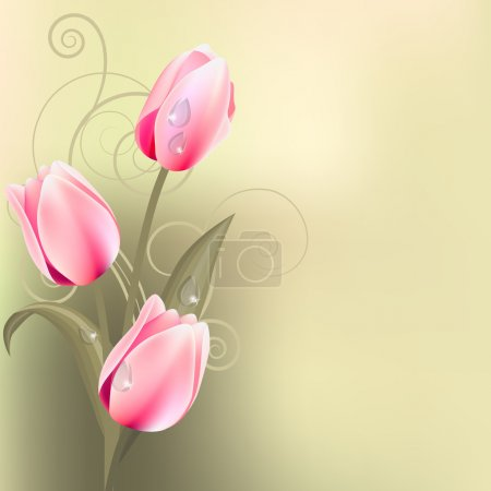 Light green background with tulips