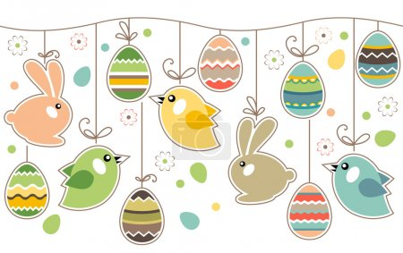 Illustration for Seamless spring border with easter eggs,birds and rabbits - Royalty Free Image
