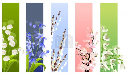 Illustration for Collection of spring flowers isolated on white background - Royalty Free Image