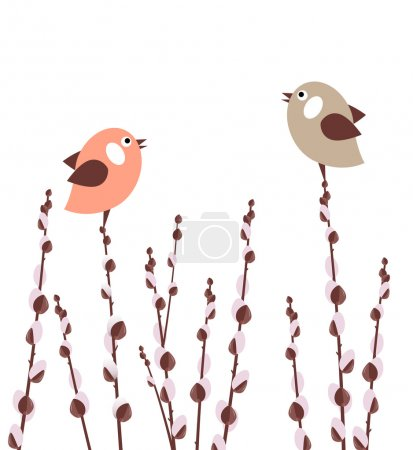 Illustration for Pussy willow branches with small stylized birds - Royalty Free Image