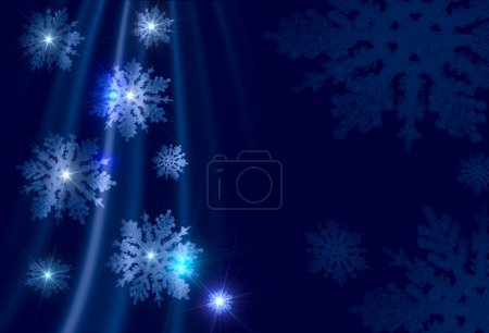 Christmas background - silvery snowflakes on a blue background