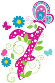 Digit 7 with butterflies and flowers