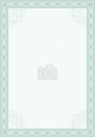 Illustration for Guilloche style blank form for diploma or sertificate - Royalty Free Image