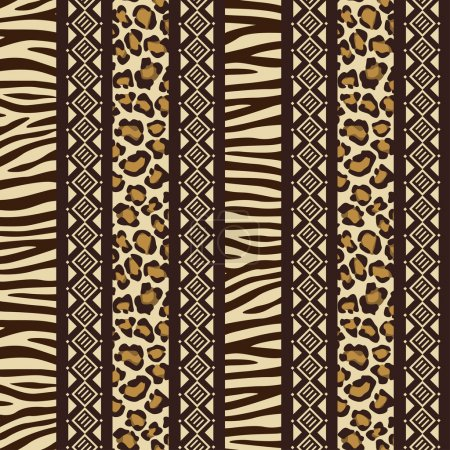 Illustration for African style seamless with wild animal skin patterns - Royalty Free Image