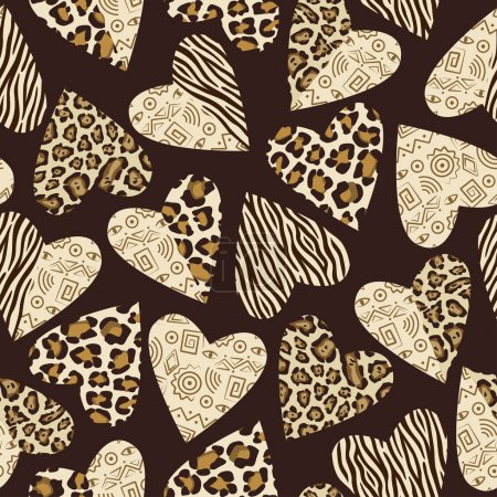 Illustration for Seamless background with hearts with animal skin pattern - Royalty Free Image
