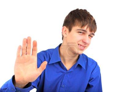 """Photo pour L'adolescent montre un geste """"non"""" - image libre de droit"""