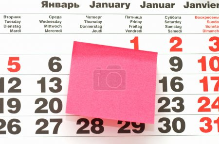 Close up of Post-It Note on Calendar