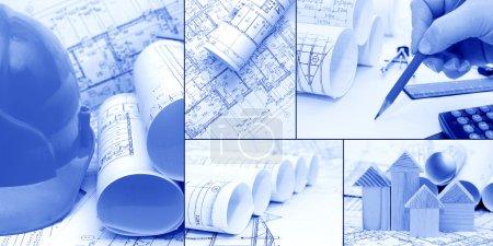 plany planów, budowlane - kolaż jako koncepcja budowy