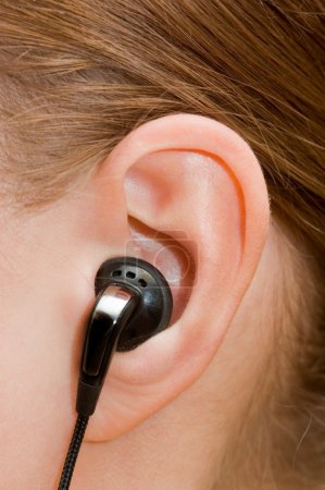 Ear-phone in a female ear