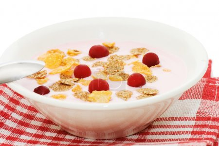 Yoghurt with berries isolated on white background