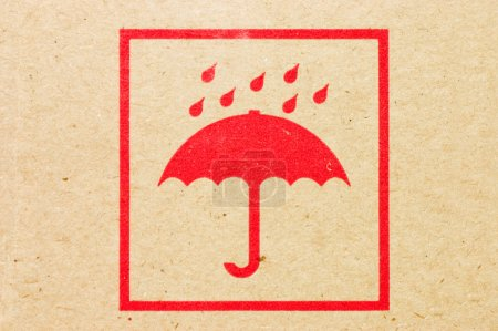 Sign an umbrella on a box