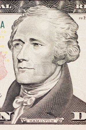 Photo pour Le président Hamilton face sur le billet de dix dollars - image libre de droit