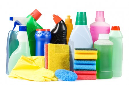 Photo for Assortment of means for cleaning isolated - Royalty Free Image