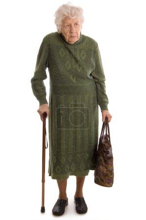 Photo pour La femme âgée isolée sur fond blanc - image libre de droit