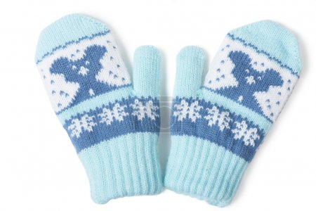 Photo for Little baby mittens/gloves isolated on white background - Royalty Free Image