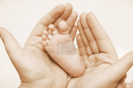 Photo for Mother hold baby leg together in your hand - Royalty Free Image