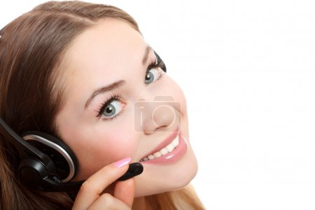 Pretty caucasian woman with headset