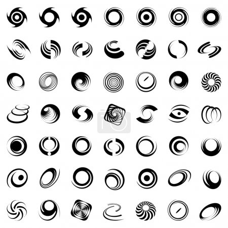Illustration for Spiral movement and rotation. 49 design elements. Vector set. - Royalty Free Image