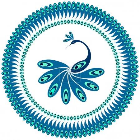 Illustration pour Paon. motif décoratif pour plaque. Vector art. - image libre de droit