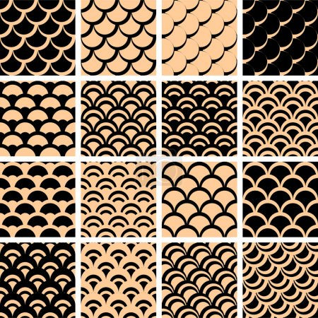 """Seamless patterns set with """"fish scale"""" texture."""
