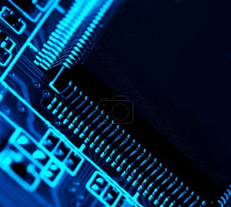 Photo for Electronics background in blue - Royalty Free Image